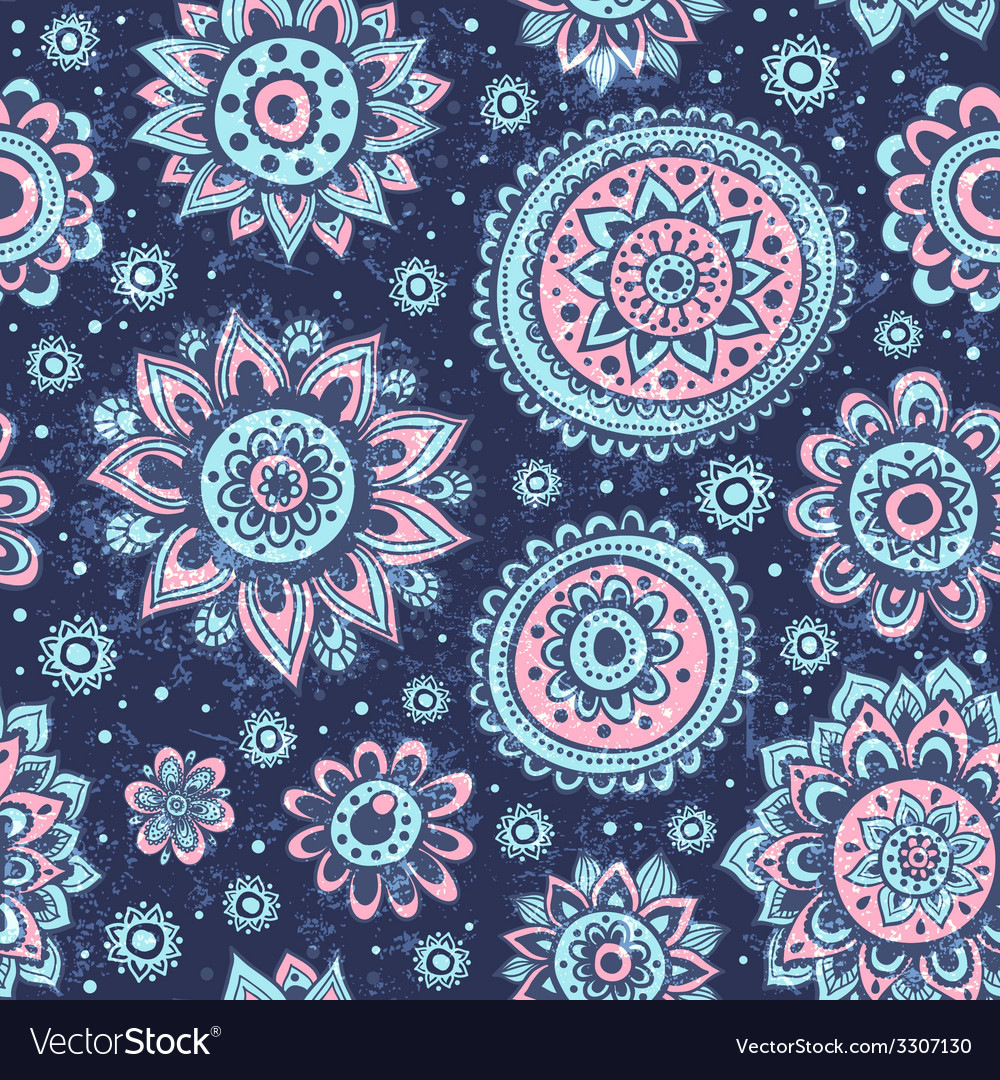 Vintage Christmas seamless pattern with flowers vector image