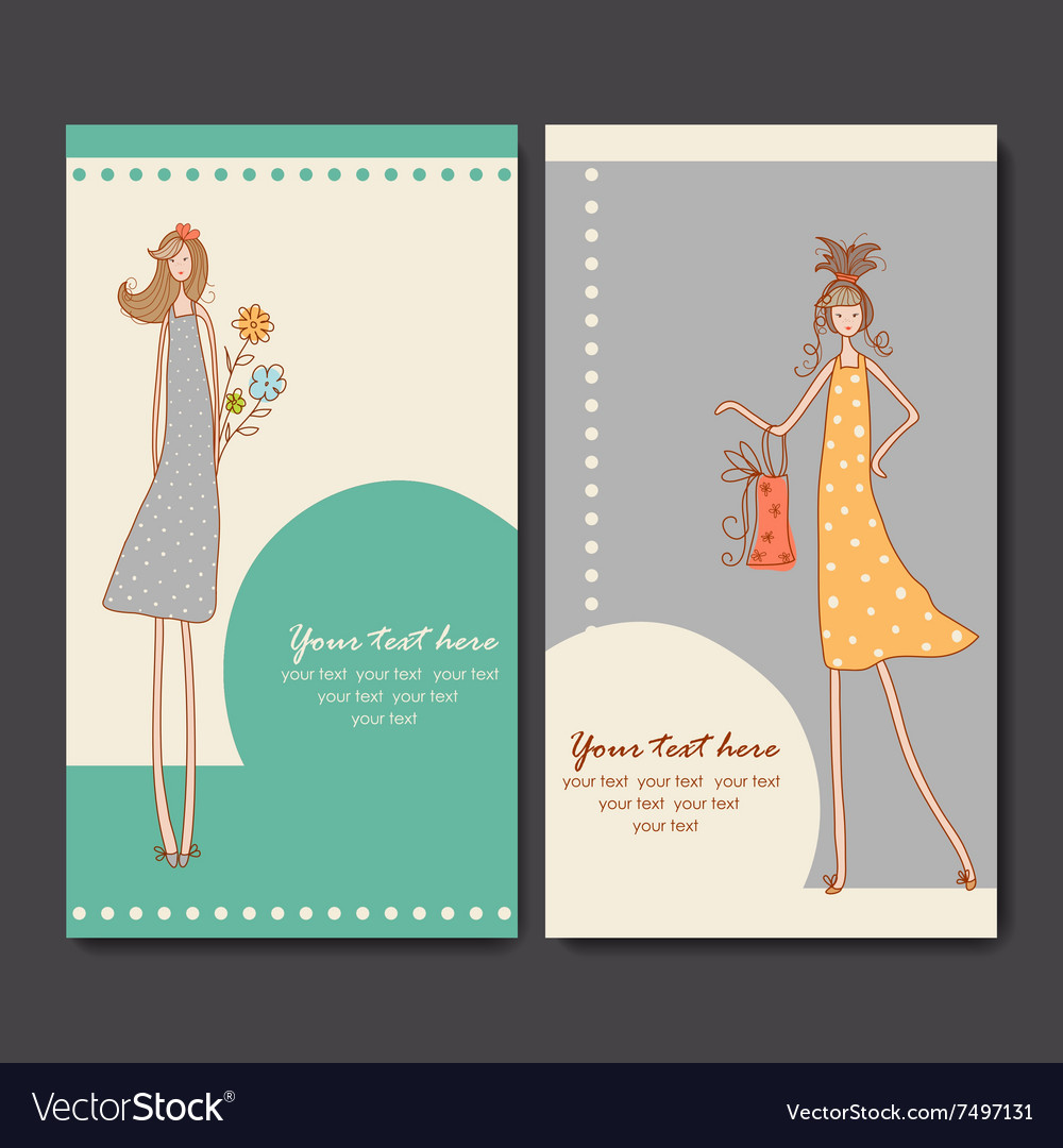 Business cards with fashion girls Royalty Free Vector Image