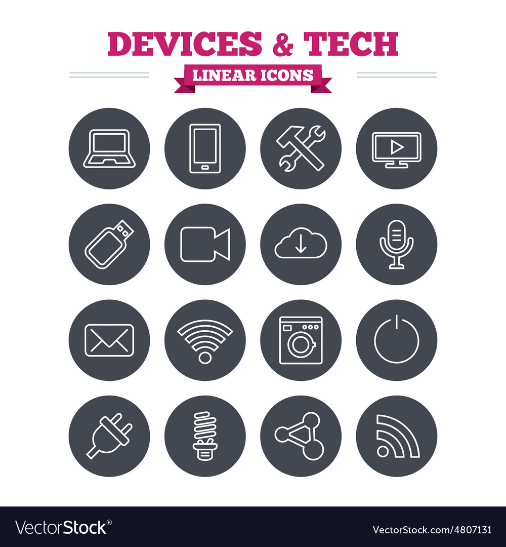 Devices and technologies linear icons set Thin vector image