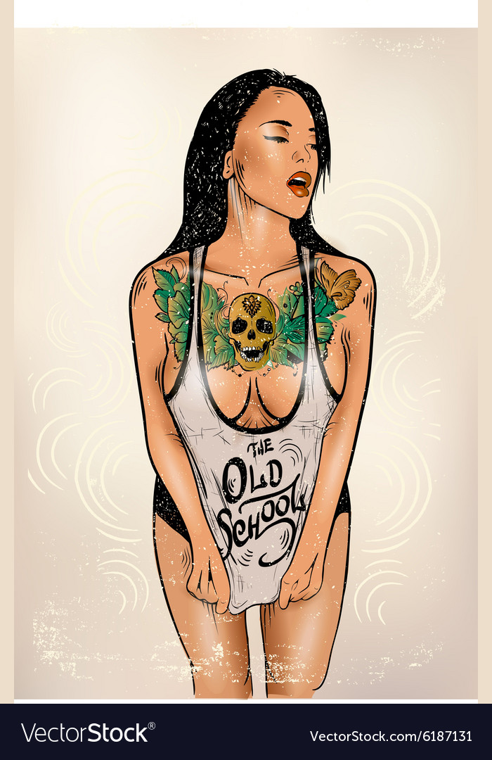 Tattoo woman vector image