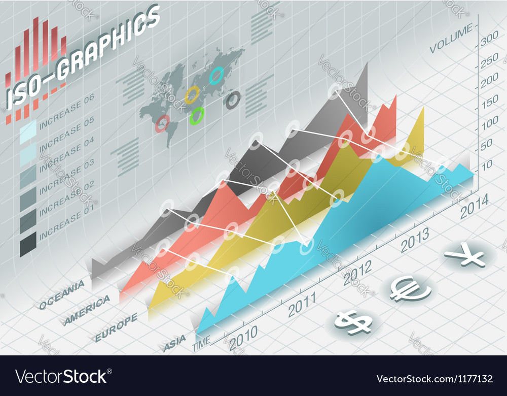 Infographic histogram set elements in various vector image