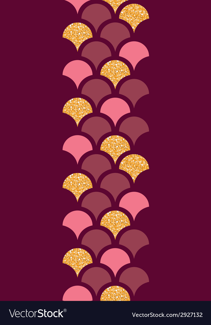 Gold glitter fish scale vertical border seamless vector image