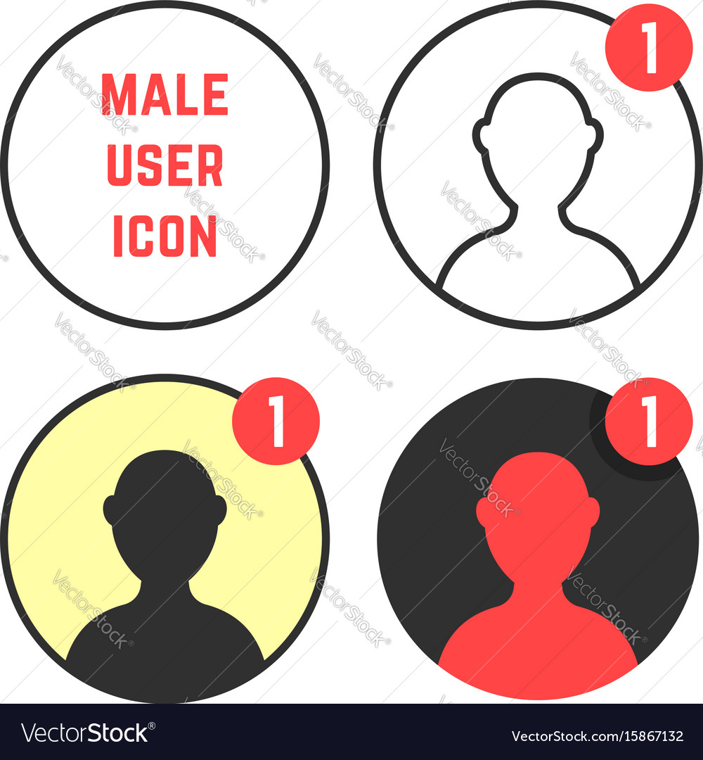 Set of male user icons vector image