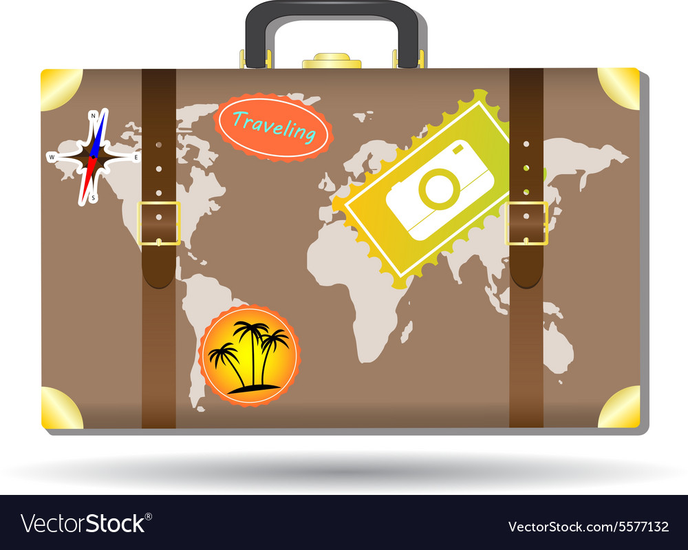 Traveling bag with stickers and world map vector image traveling bag with stickers and world map vector image gumiabroncs Images
