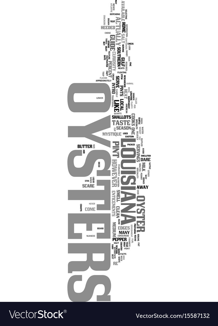 Your guide to oysters text word cloud concept vector image