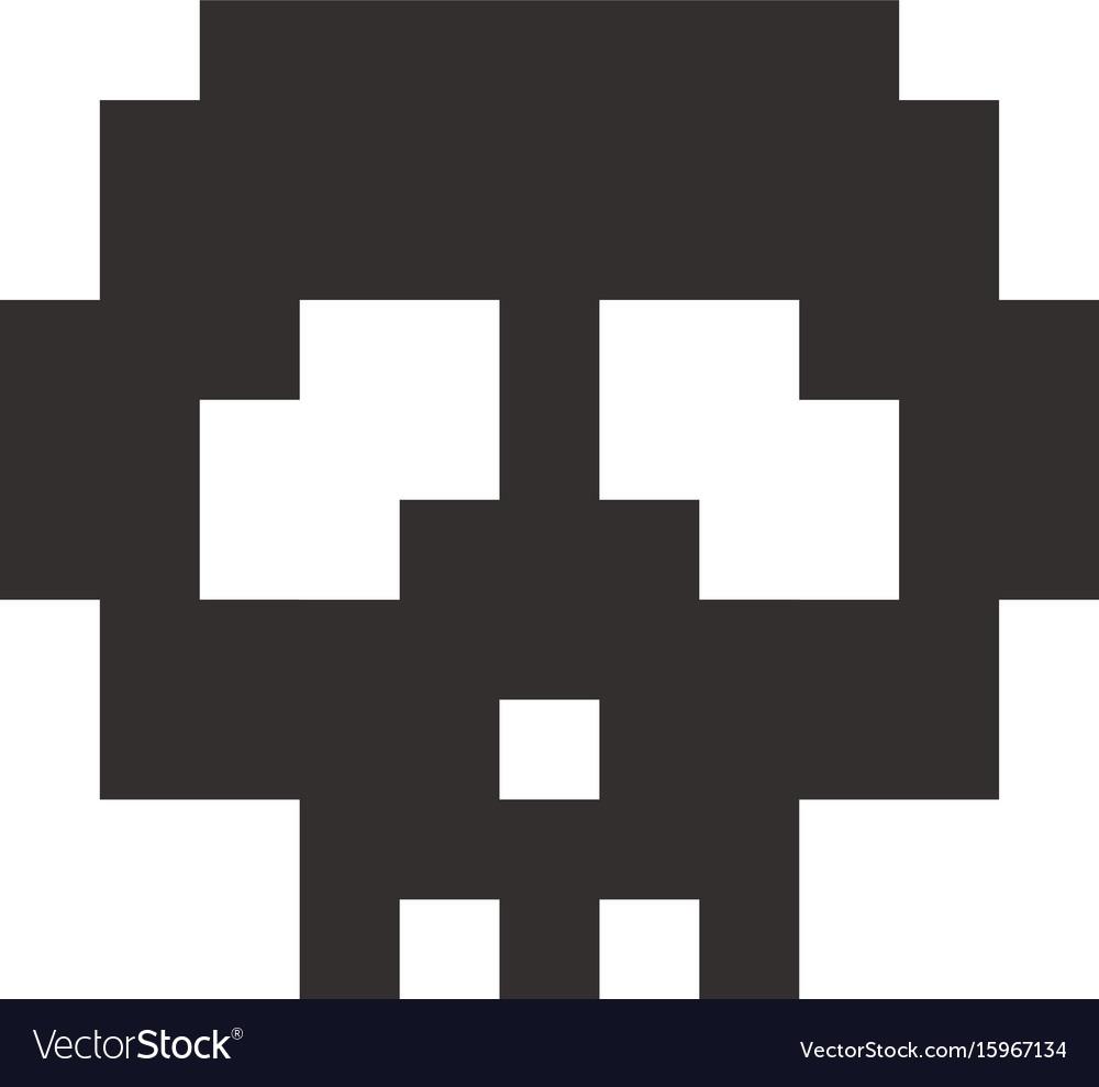 Pixel skull pixel art cartoon retro game style vector image