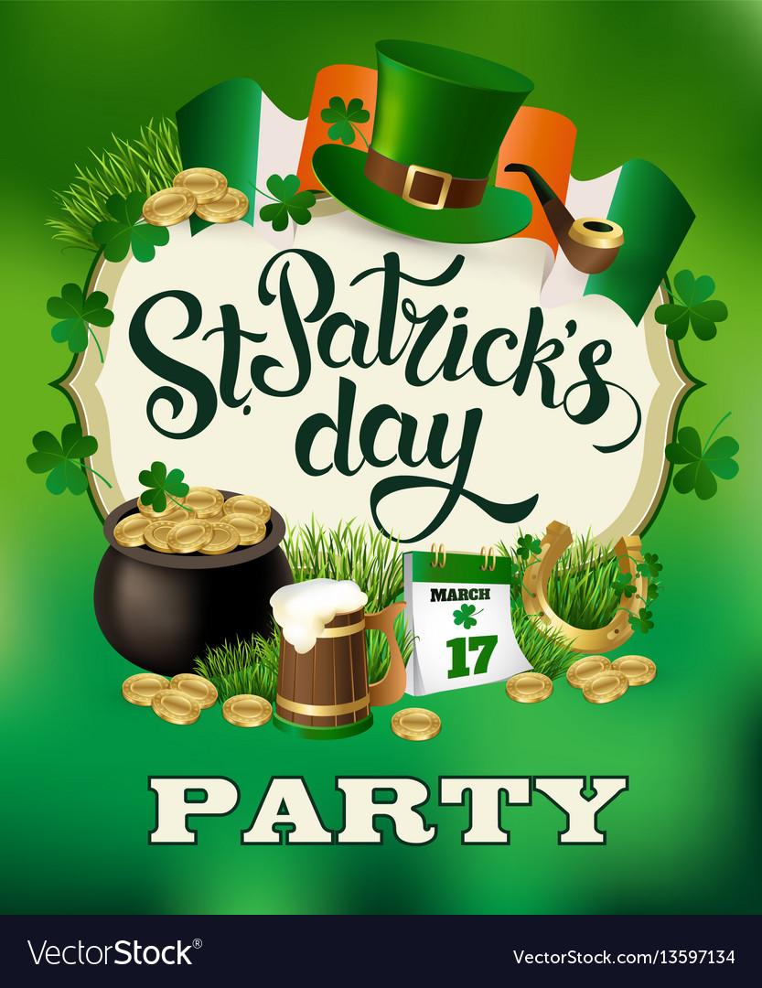 Stpatricks day poster vector image