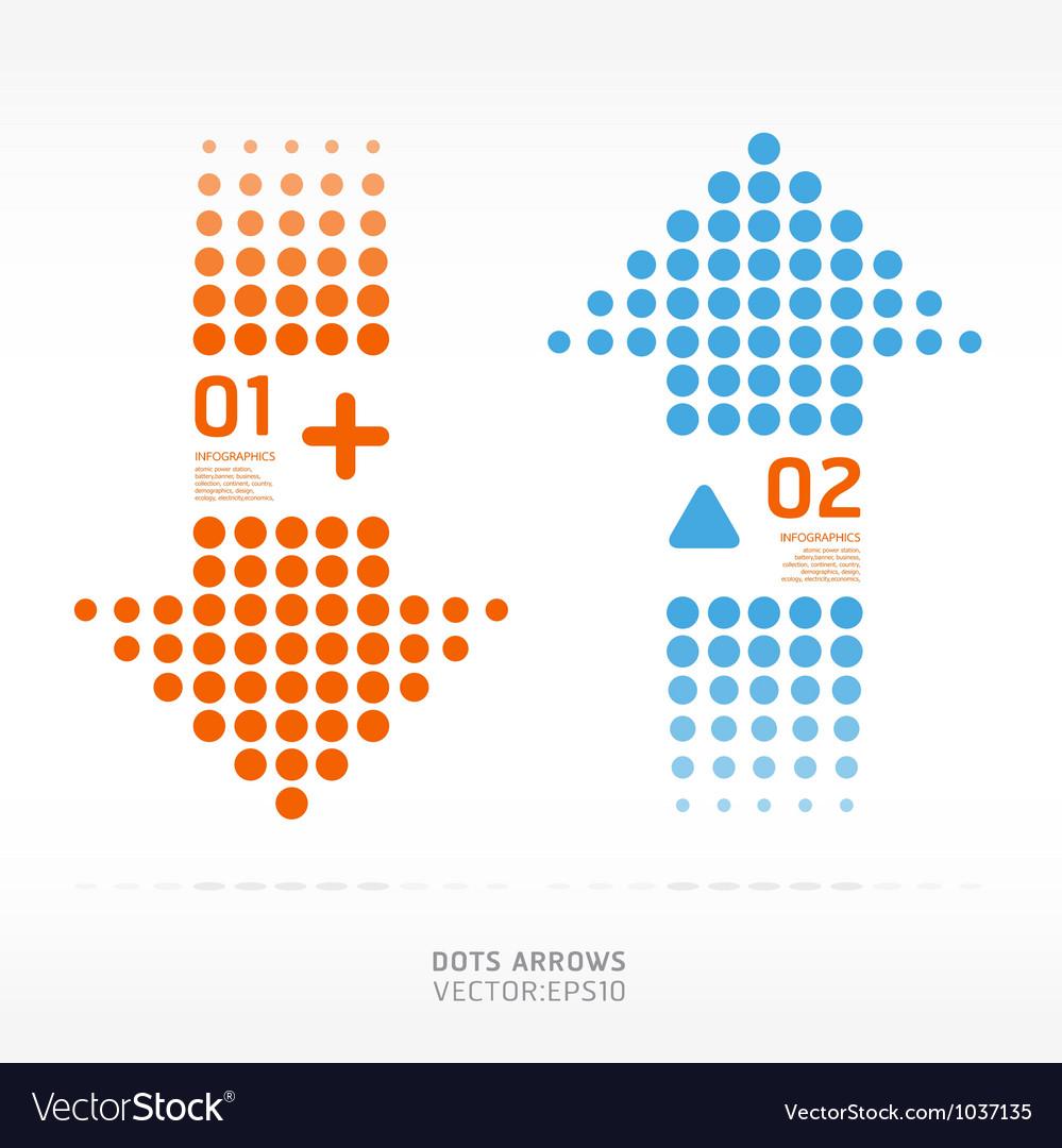 Dots arrows orange and blue color vector image