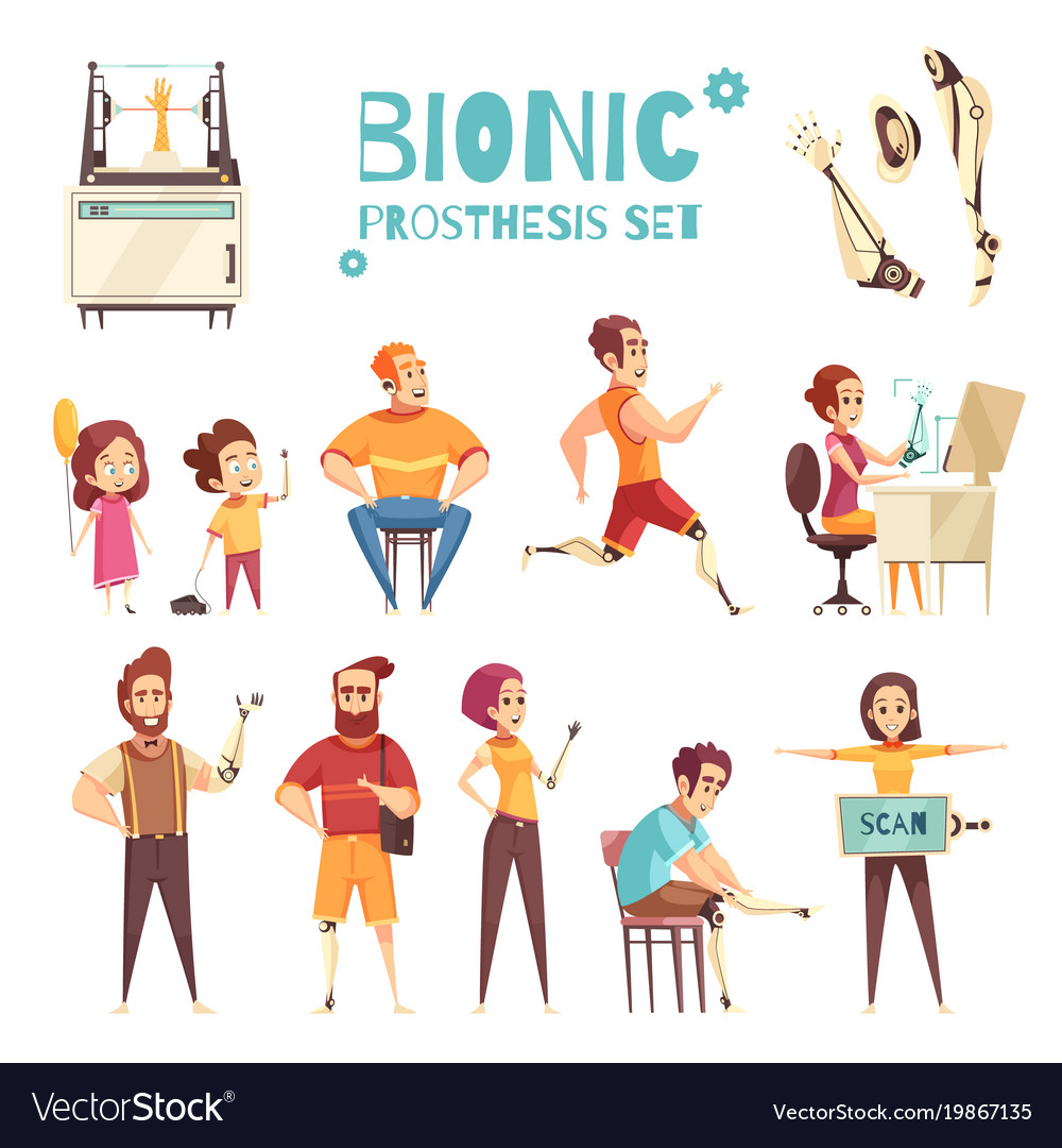 Bionic prothesis cartoon icons set vector image