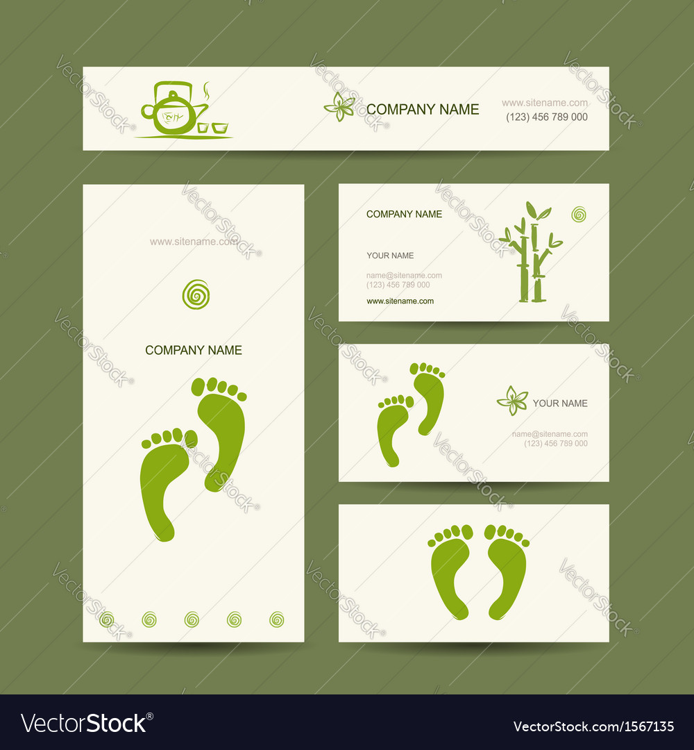 Business cards design foot massage Royalty Free Vector Image