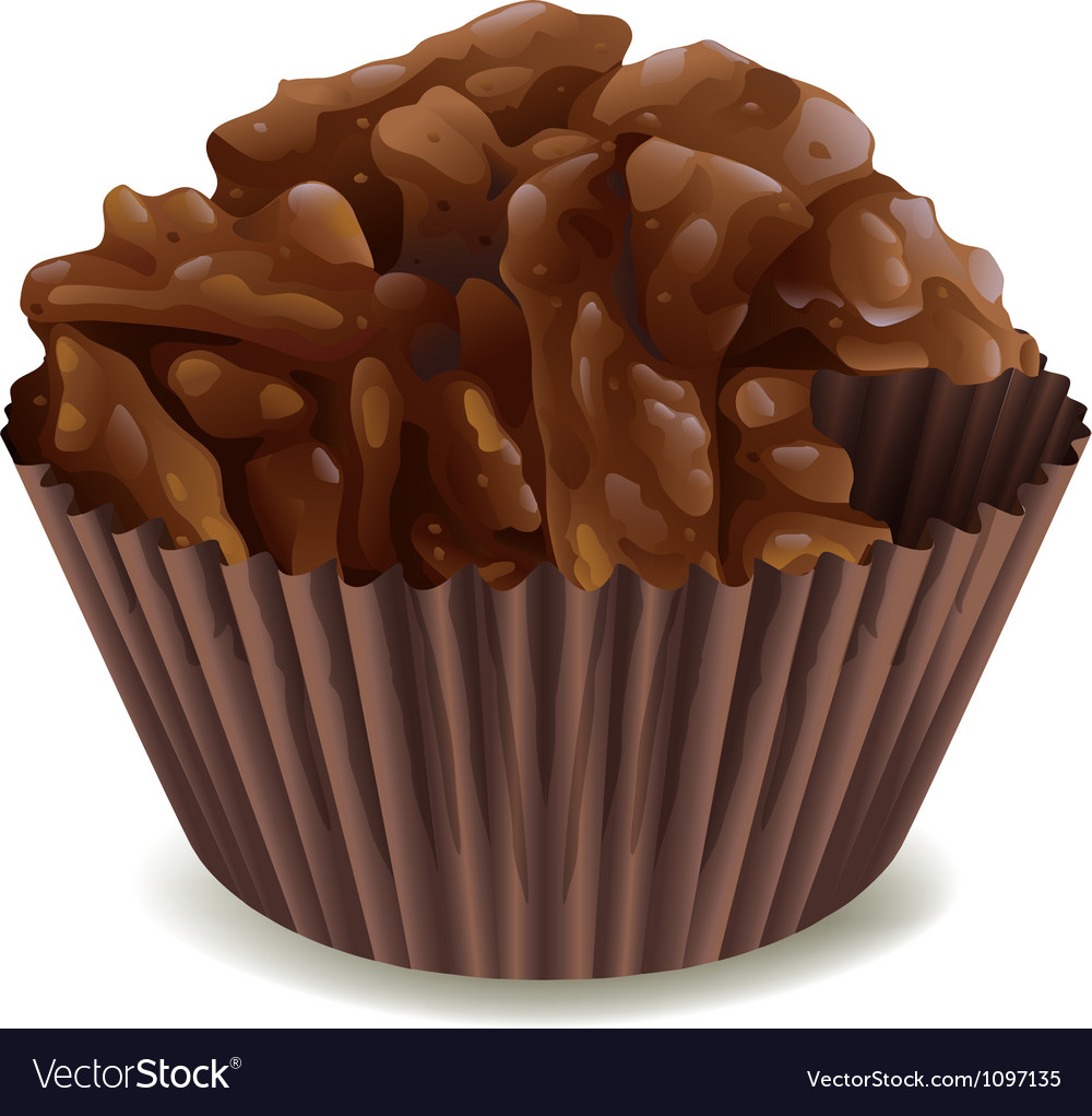 Chocolates in brown cup vector image