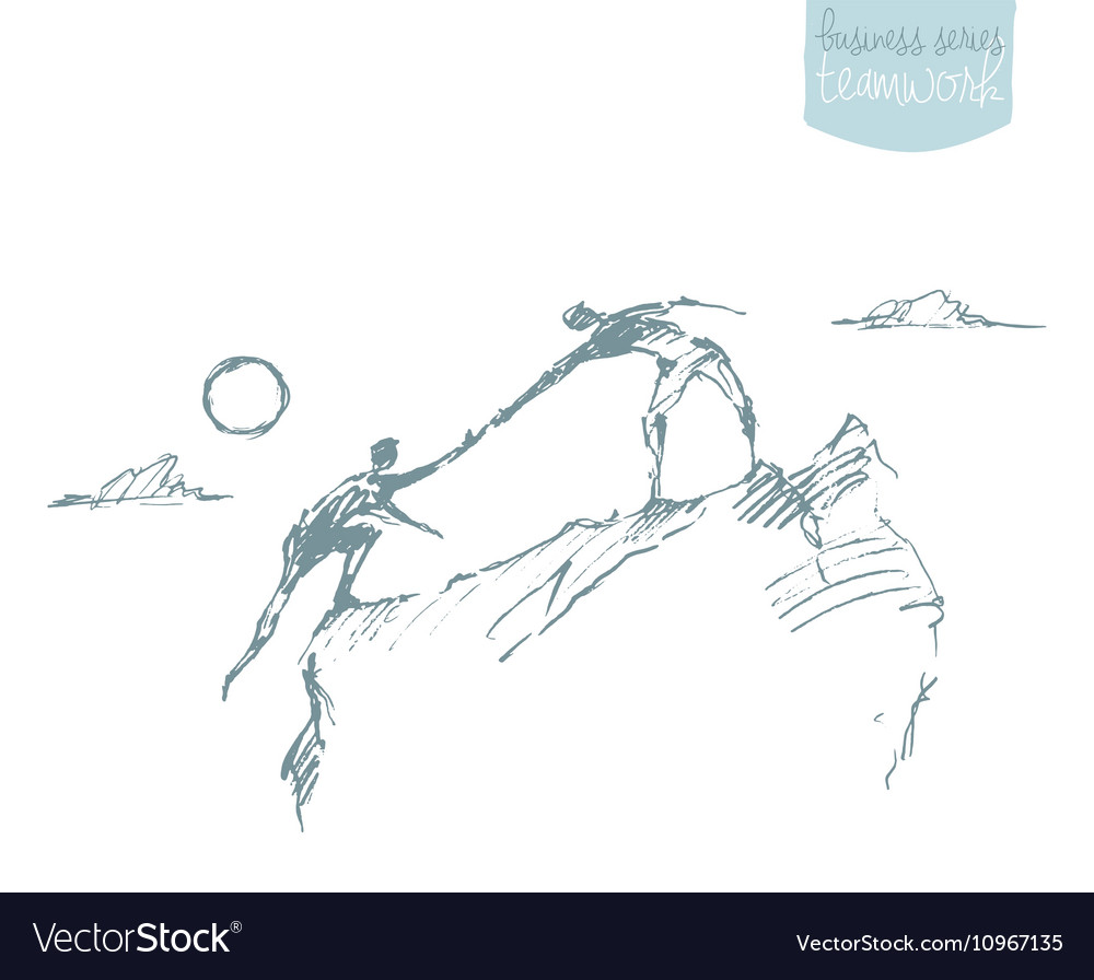 Draw helping man climb teamwork partnership sketch vector image