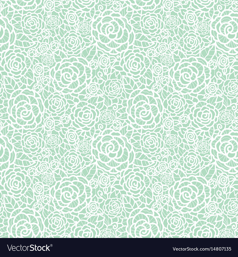 Gentle pastel mint green lace roses vector image