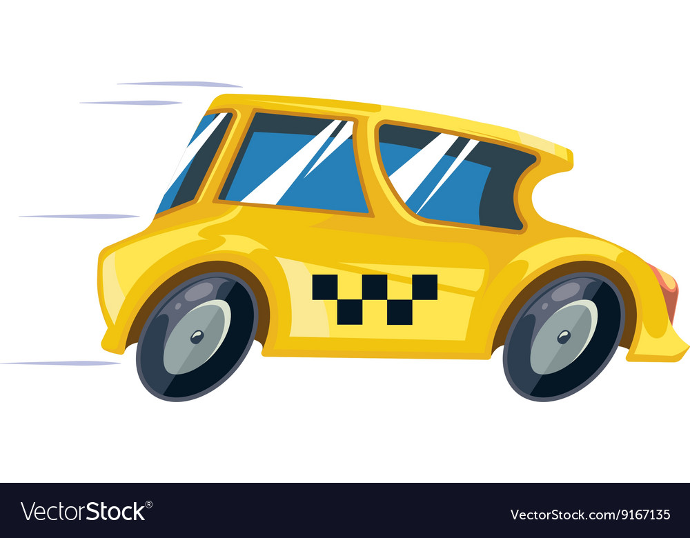 Ilustration of yellow taxi car vector image
