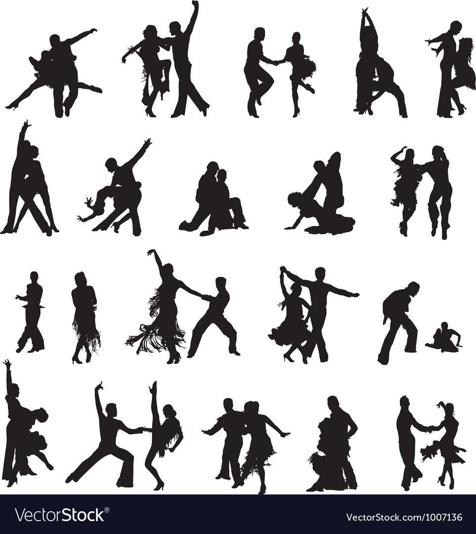Silhouettes of couples ballroom dancing vector image