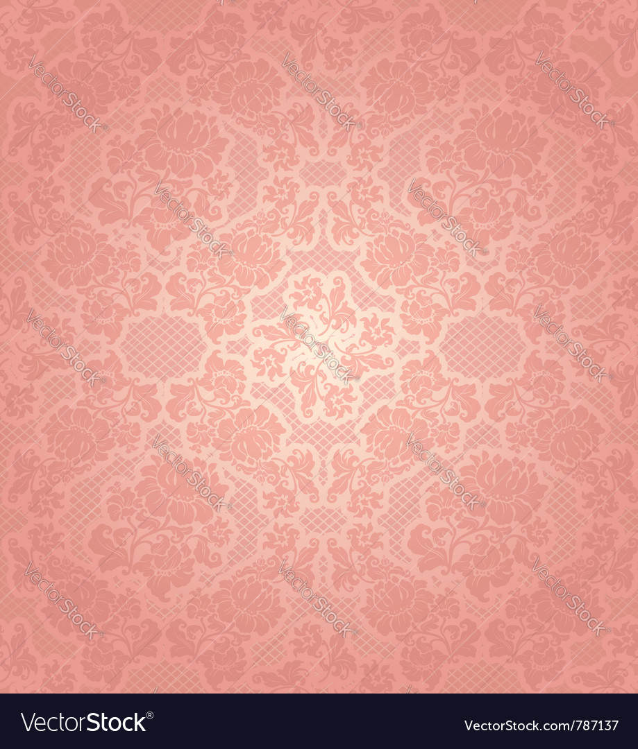 Lace background ornamental pink flowers template Vector Image
