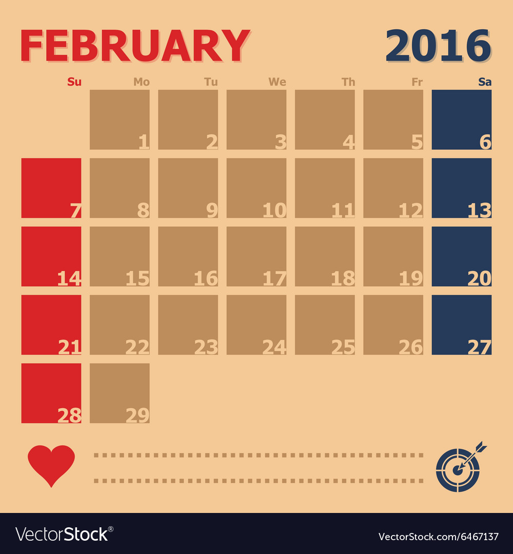 February 2016 monthly calendar template vector image