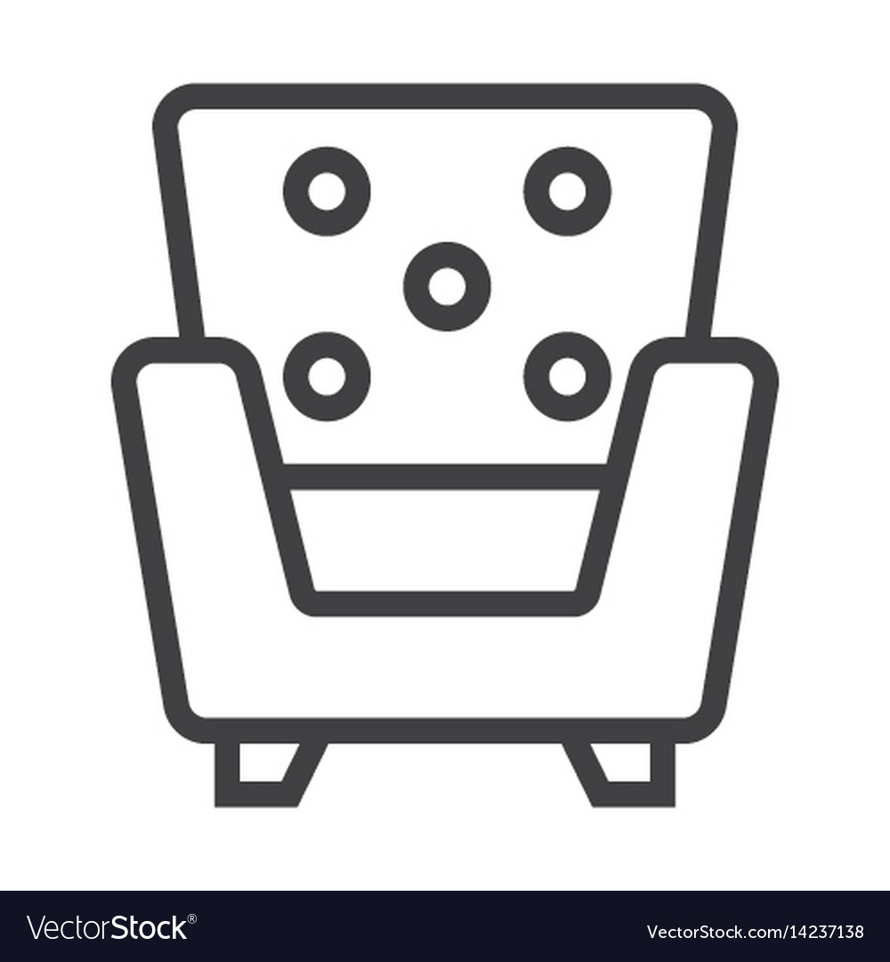 Armchair line icon furniture and interior vector image