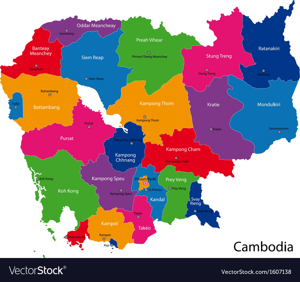 Cambodia Map Royalty Free Vector Image VectorStock - Cambodia map