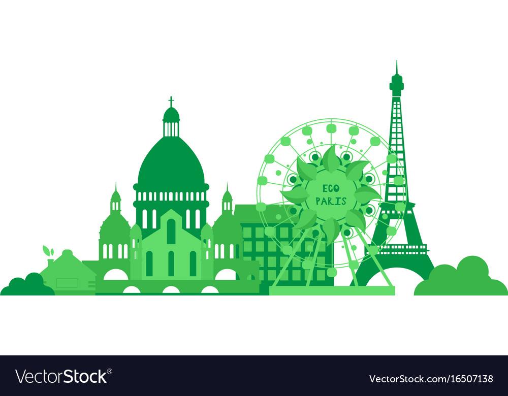 Green city silhouette in flat design eco paris Vector Image