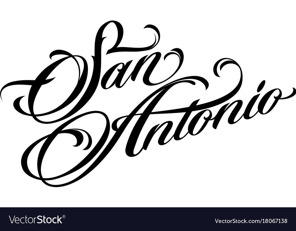 Famoso San antonio tattoo lettering Royalty Free Vector Image CQ97