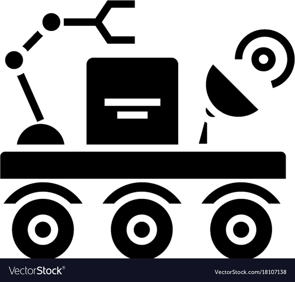 Space vehicle icon black vector image