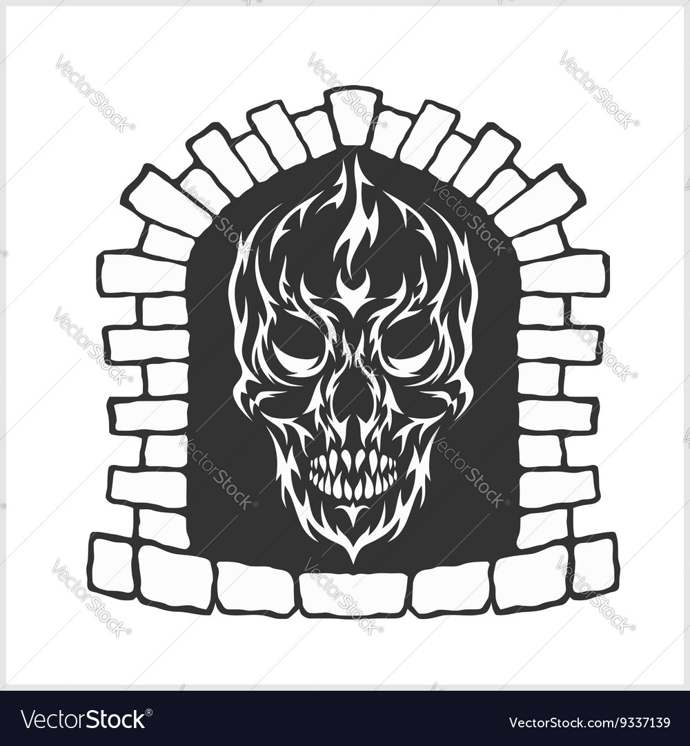 Skull with flames style vector image