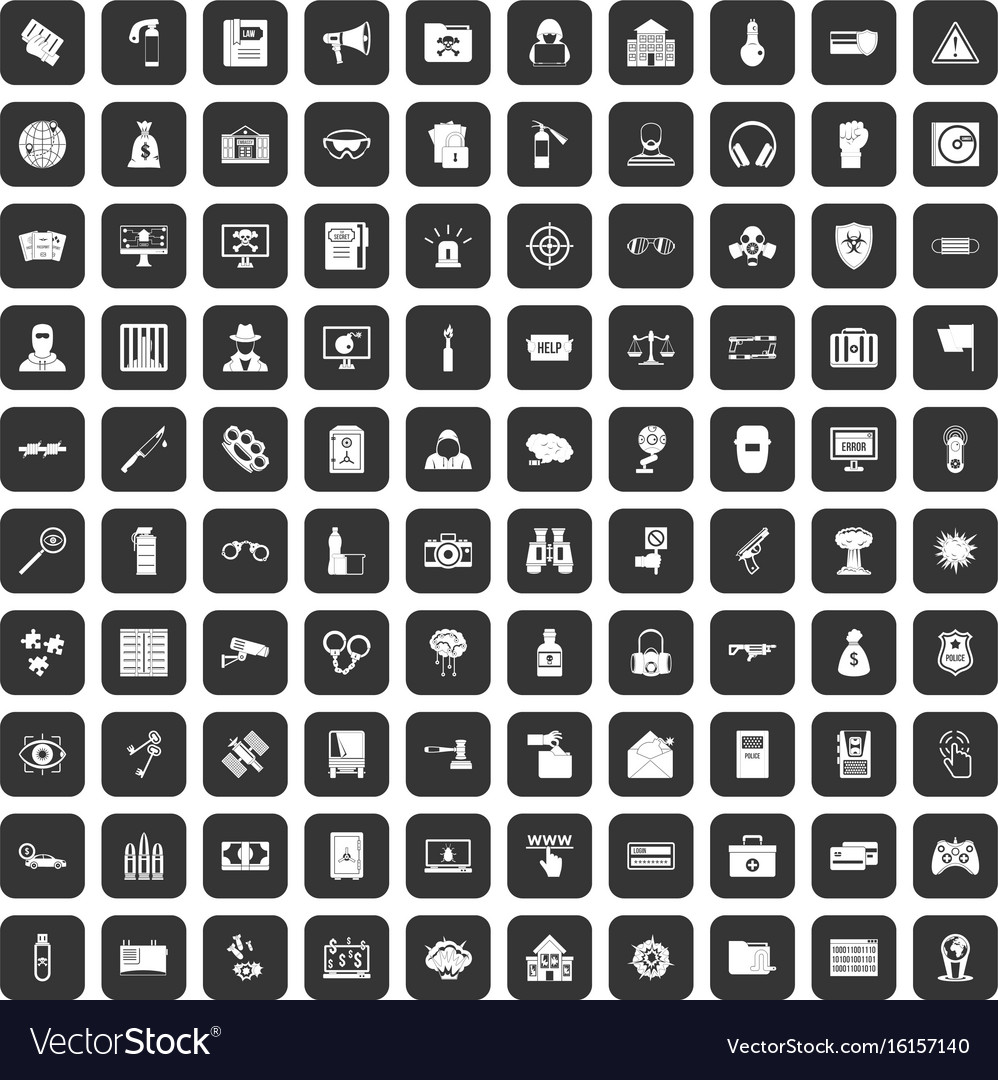 100 hacking icons set black vector image