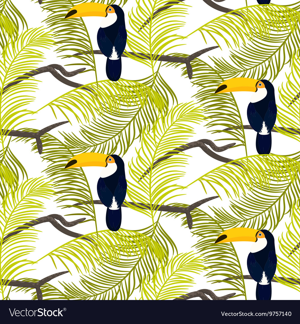 Green palm leaves and toucan bird seamless vector image