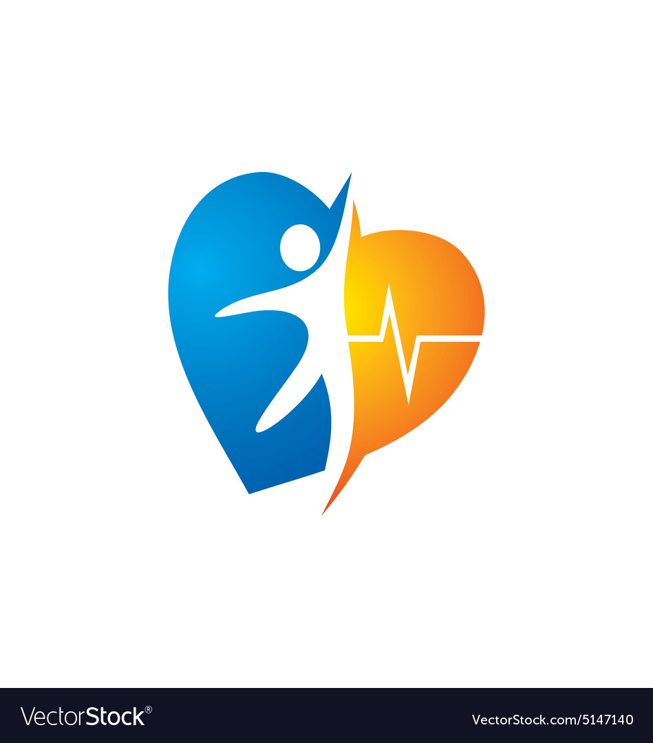 Heart love people care happy logo vector image