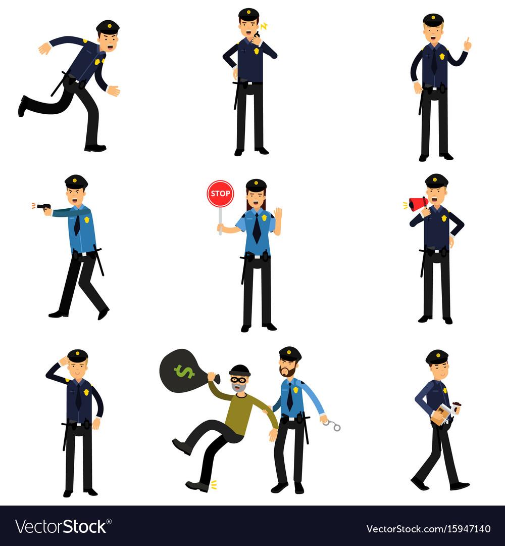 Policeman characters at work set policemen doing vector image