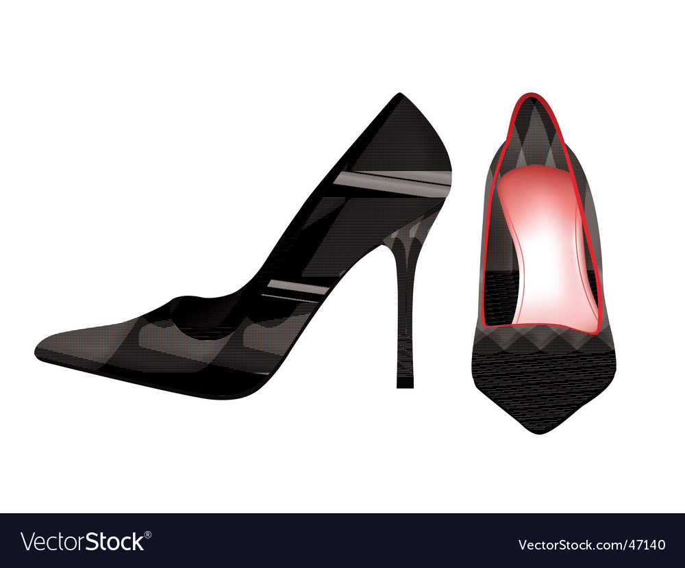 Red pump shoes vector image