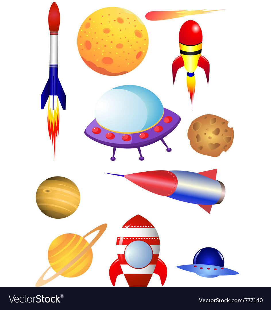 Rocket and space shuttle vector image