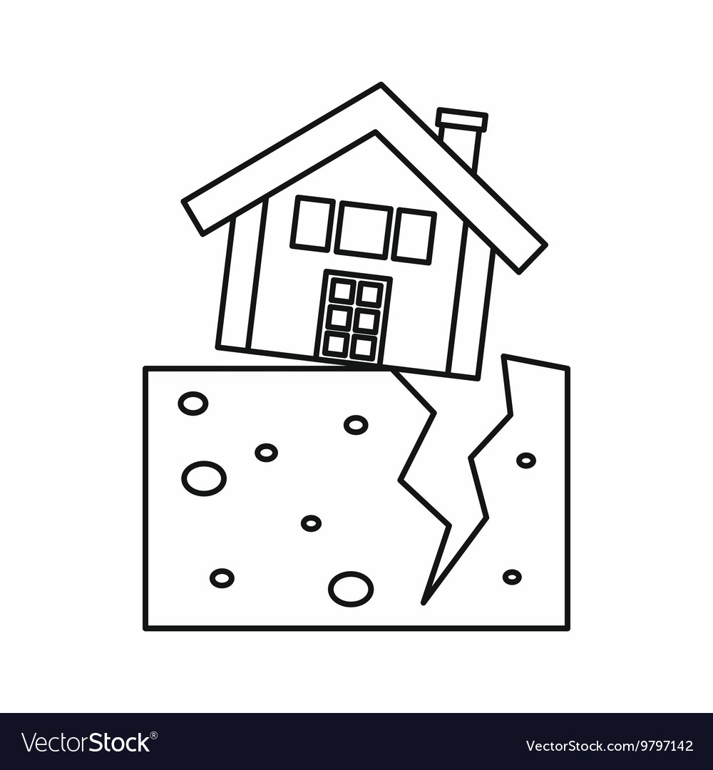House outline picture - House After An Earthquake Icon Outline Style Vector Image