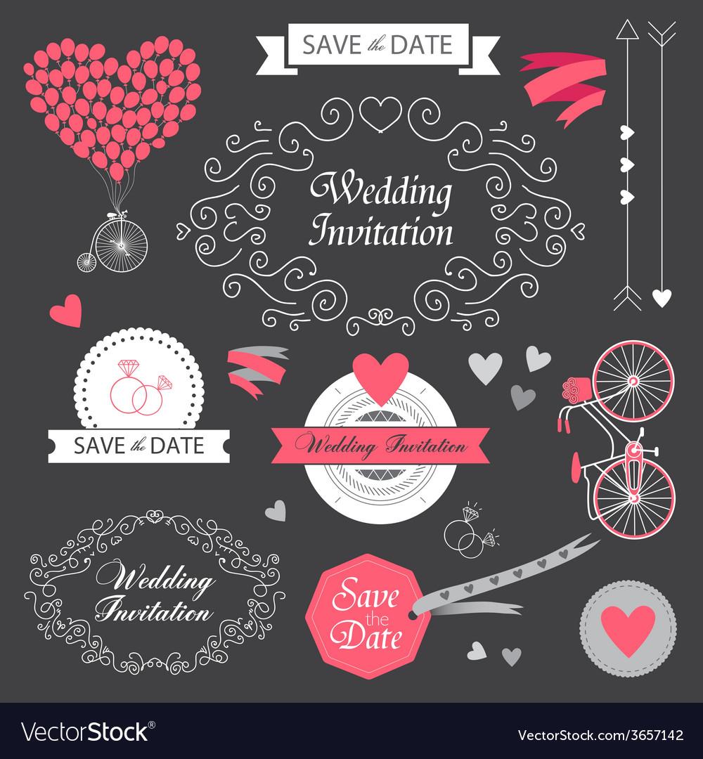 Set wedding vintage hand drawn invitation vector image