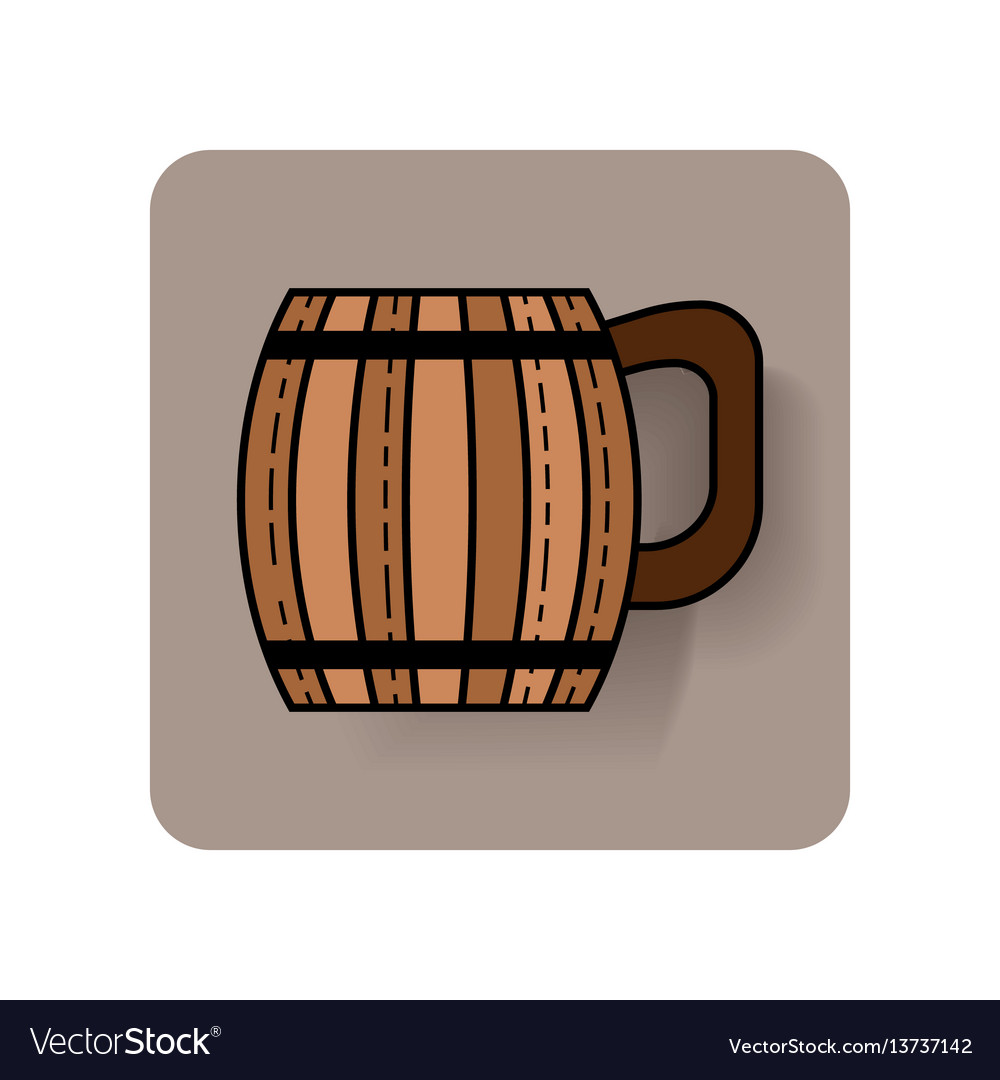 Wooden mug for beer drinks color flat icon with vector image
