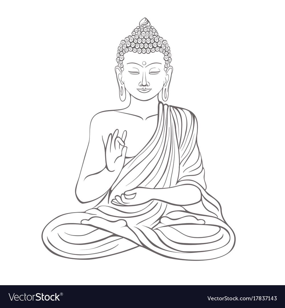 Gautama buddha with raised right hand on vector image