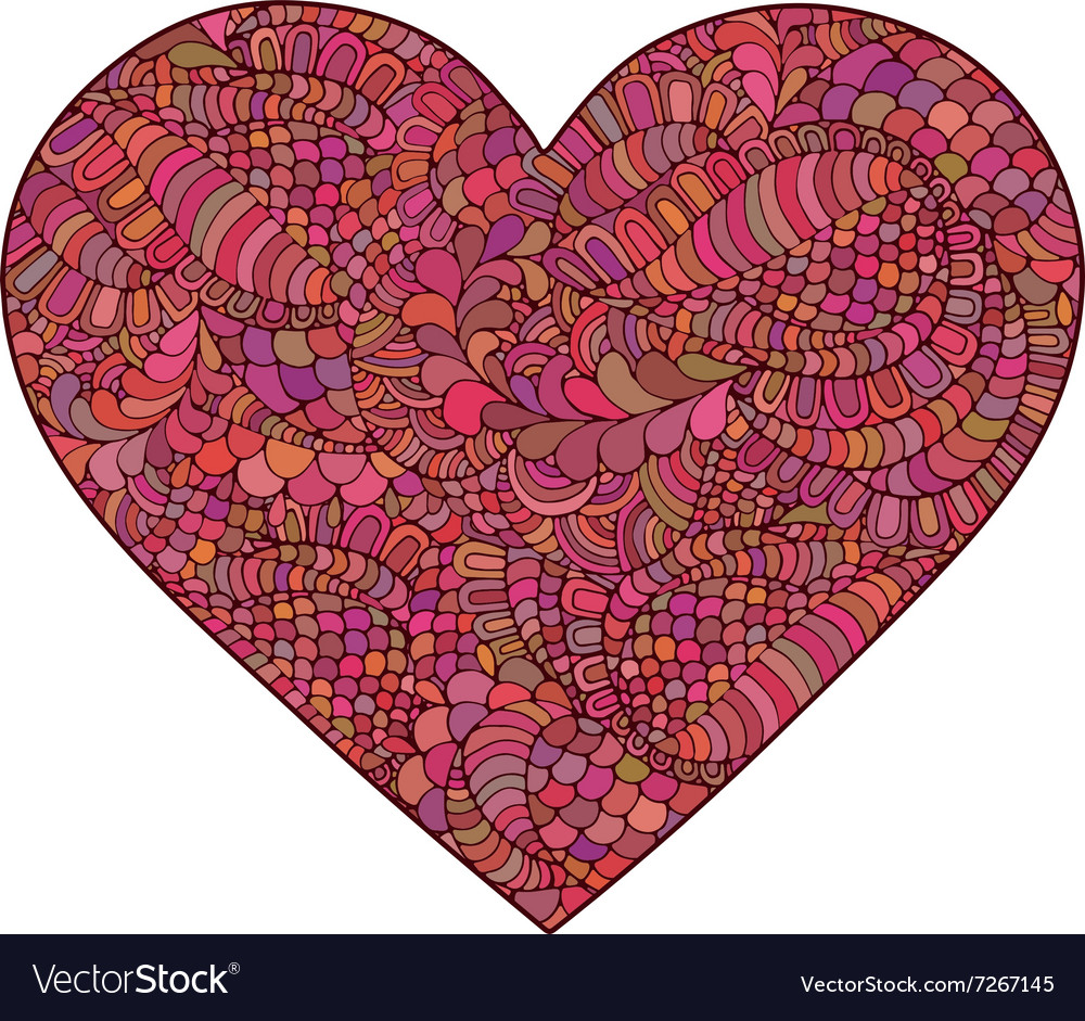 Heart made of doodle elements vector image