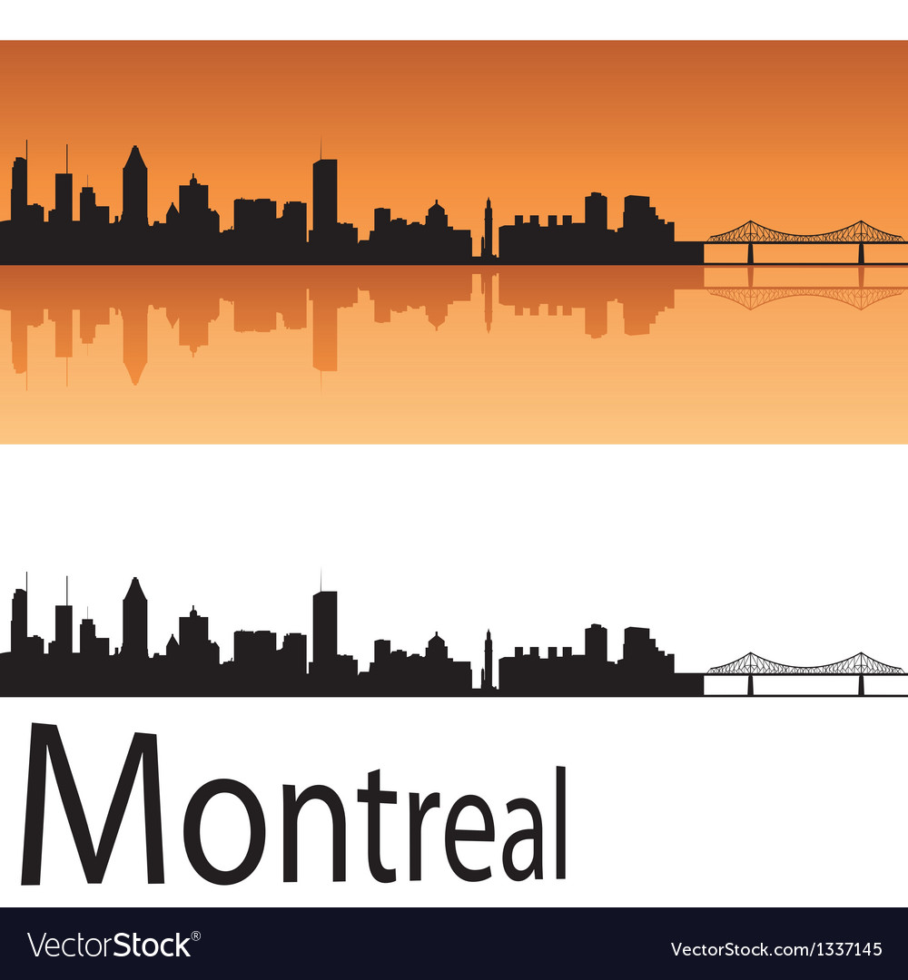 Montreal skyline in orange background vector image