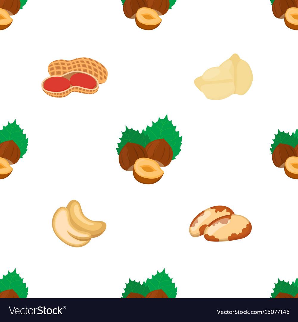 Seamless pattern of peanut brazil nut cashew vector image