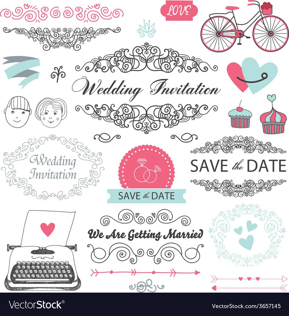 Set of vintage wedding invitation design elements vector image set of vintage wedding invitation design elements vector image stopboris Image collections