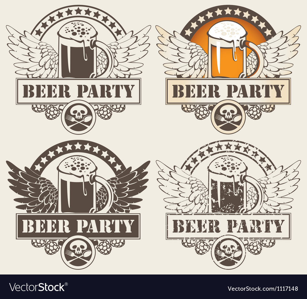 Beer hobeer and wings vector image
