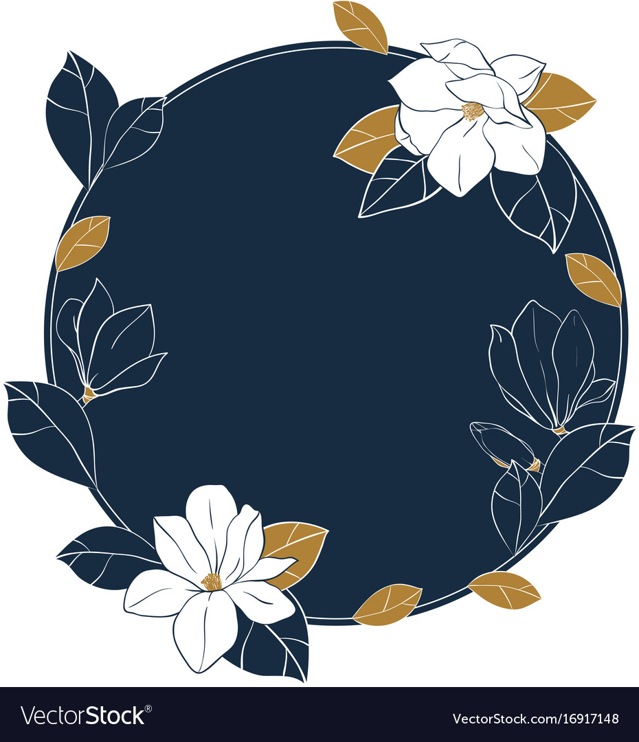 Round frame of magnolia flowersbuds and leaves vector image