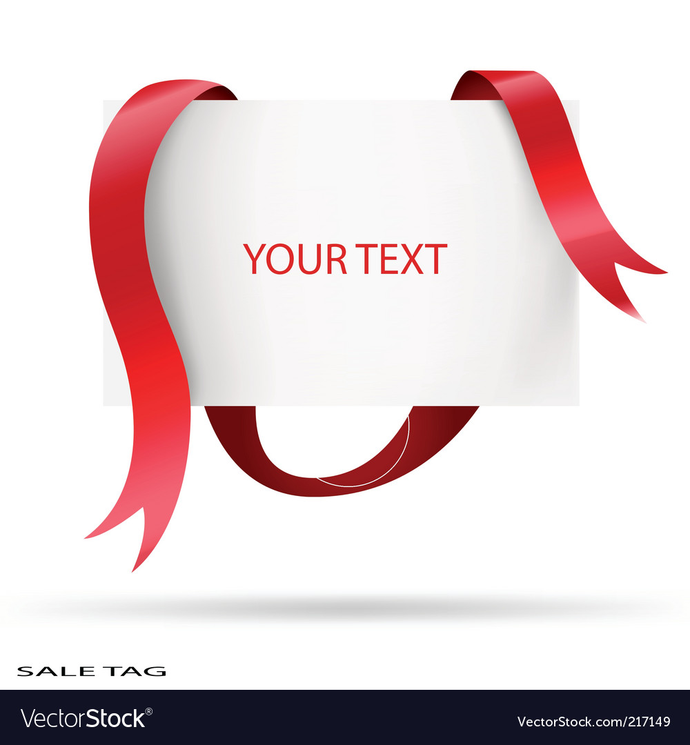Blank sale tag red ribbons Vector Image