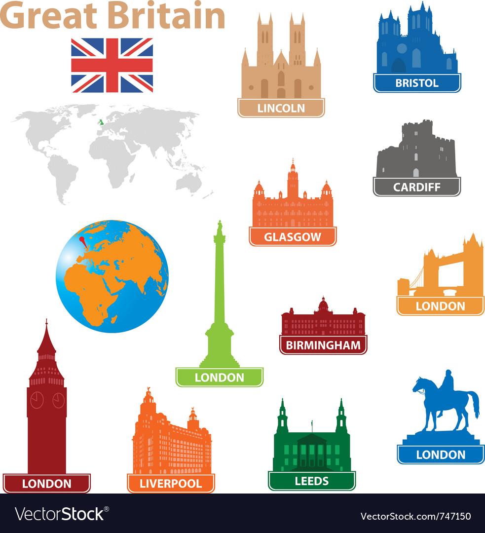 Symbols city to great britain vector image