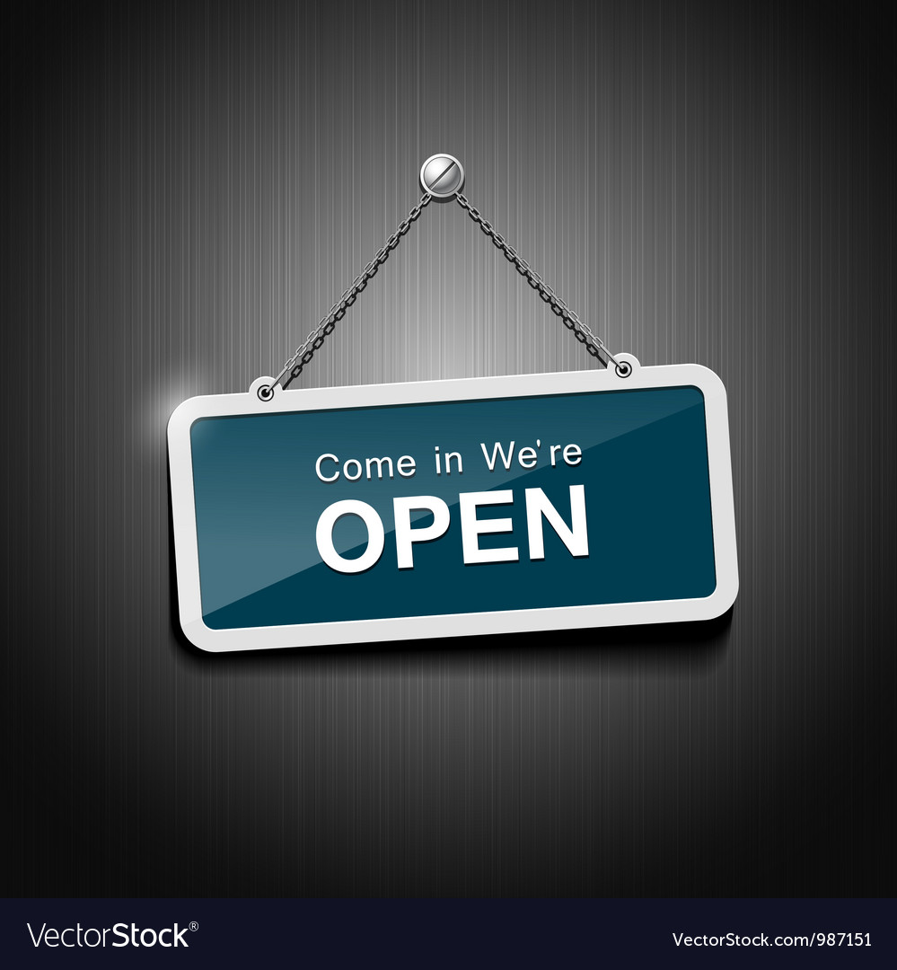 Open signs hanging with chain Vector Image