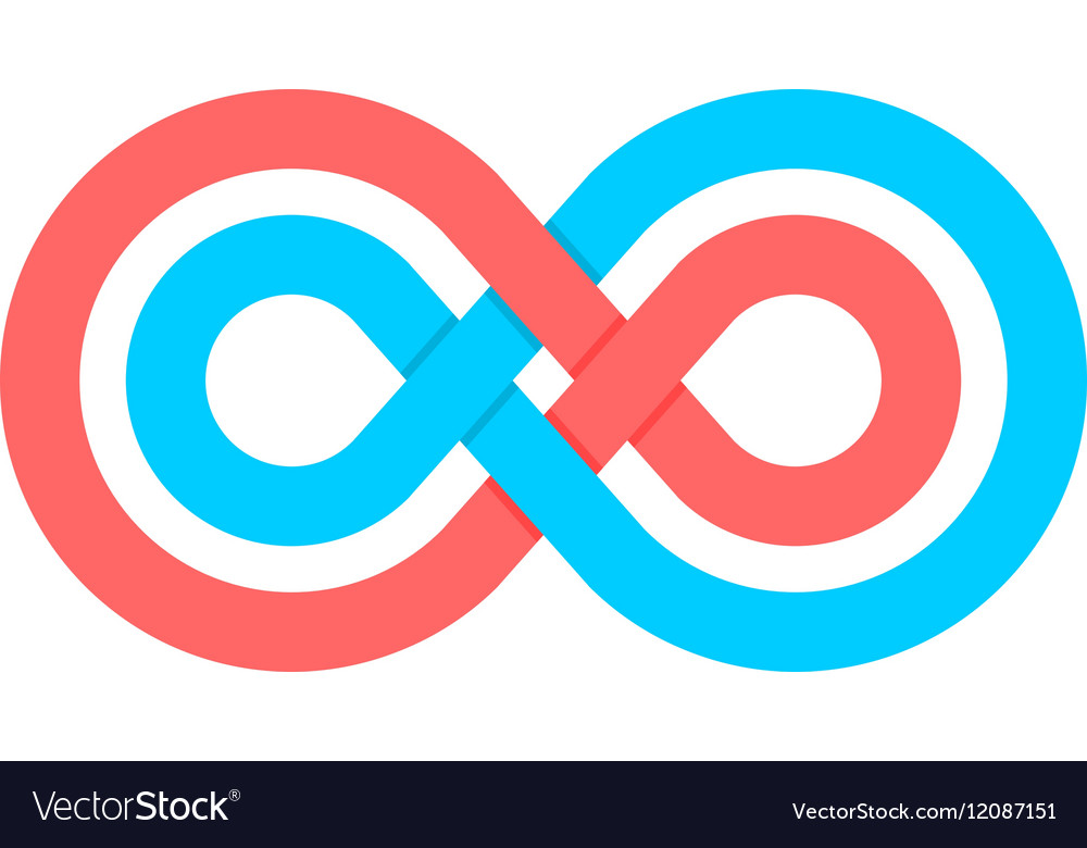 Color infinity crossed lines logo vector image