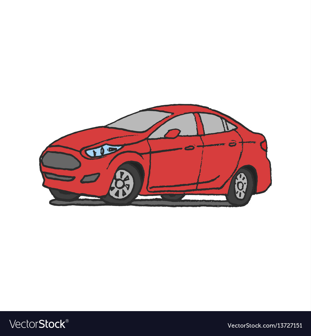 Red car doodle vector image