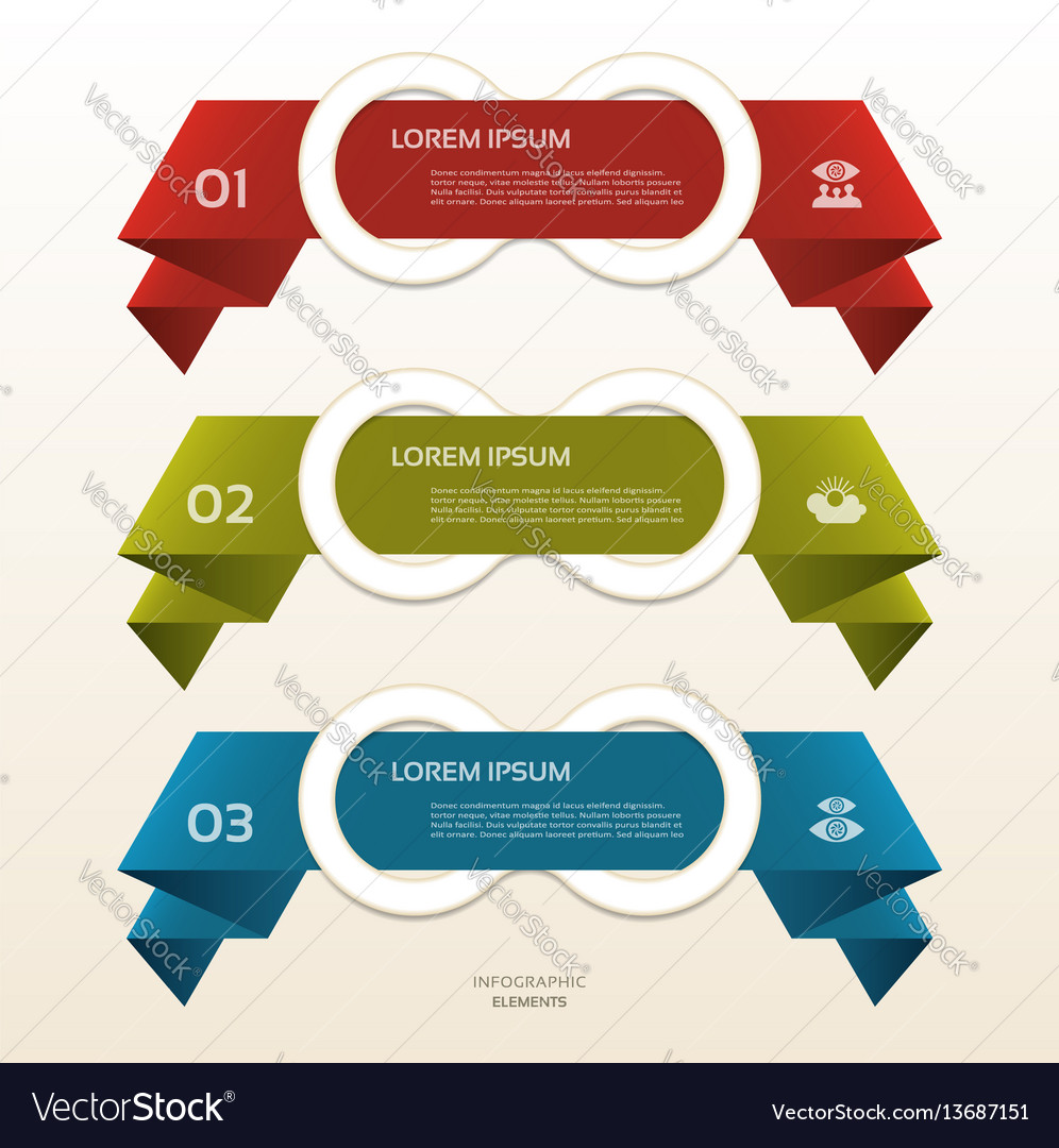 Set of colorful origami labels for your text vector image