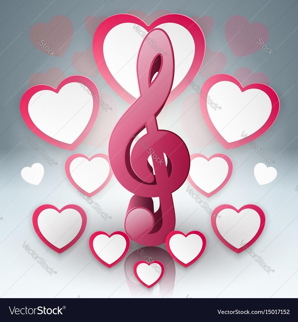 Music hearts valentines day treble clef icon vector image